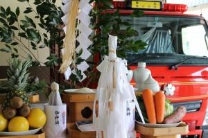 外ヶ浜町消防蟹田第7、9分団の小型動力ポンプ付積載車入魂祭